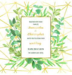 wedding invitation with geometric frame and vector image