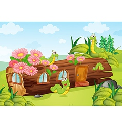 A caterpillar and a wood house vector image vector image