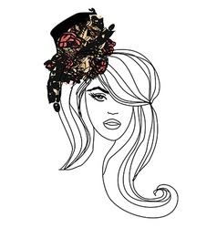 Abstract Beautiful Woman doodle Portrait vector image