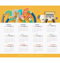 Business calendar 2016 vector image vector image
