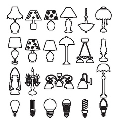 lamps and light bulb set vector image