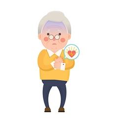 Old Man Heart Attack Cartoon Character vector image