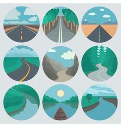 Travel Icons Set Landscapes vector image