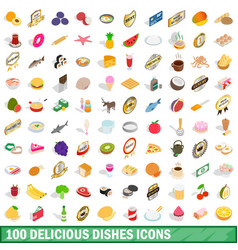 100 delicious dishes icons set isometric 3d style vector image