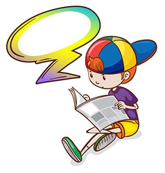 A boy reading with an empty callout vector image vector image