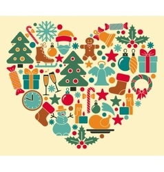 Christmas symbols in heart shape vector image vector image