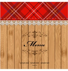 Scottish Tartan Pattern Menu vector image