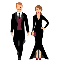 evening fashion couple in black clothes vector image vector image