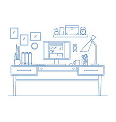Line art workplace in flat style of vector