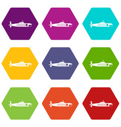 military submarine icon set color hexahedron vector image