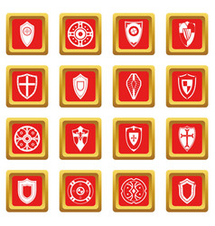 Shields set icons set red vector