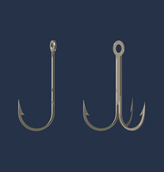 two fishing hooks icon fisherman equipment sign vector image vector image