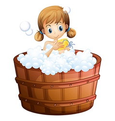 A young girl taking bath at the bathtub vector