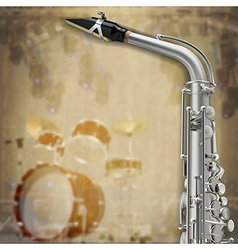 abstract music grunge background with saxophone vector image