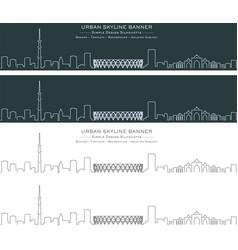 Ahmedabad single line skyline profile banner vector