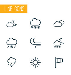 air icons line style set with moonshine cold vector image