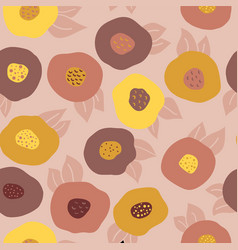 autumn doodle flowers seamless background vector image
