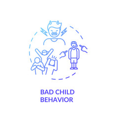 Bad child behavior concept icon vector