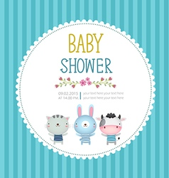 bashower invitation card template on blue vector image