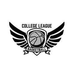 Basketball sport emblem with wings design element vector