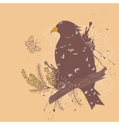 Bird with flowers vector