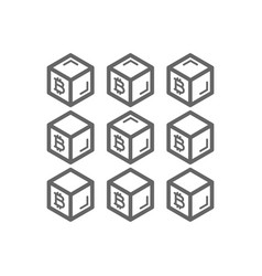 Bitcoin blockchain line icon vector