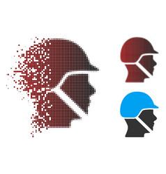 Broken pixel halftone soldier helmet icon vector