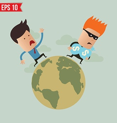 Business man run follow thief - - EPS10 vector image