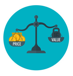 Business measurement of price and value with scale vector
