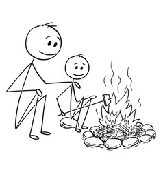 Cartoon father and son sitting around fire or vector
