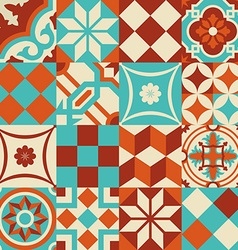 Ceramic mosaic tile pattern with geometry shapes vector