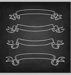 Chalk sketch of vintage ribbons vector