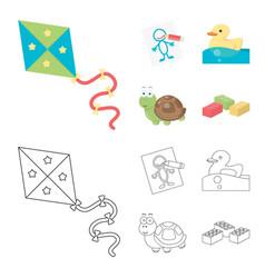 Children toy cartoonoutline icons in set vector