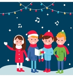 Children Wearing Warm Winter Coats Sing Carols on vector