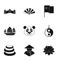 China republic icon set simple style vector