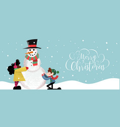 christmas banner cute children making snowman vector image