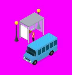 City public transport minibus 3d isometric view vector