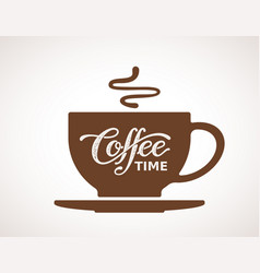 Coffee time lettering on cup vector