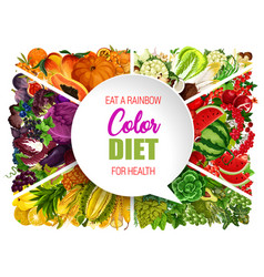 Color diet food vegetable and fruit vector