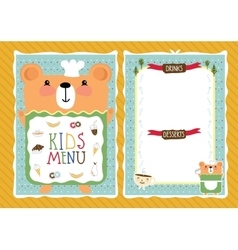 Colorful kids meal menu template vector image