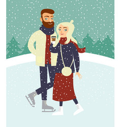 couple skating on outdoor ice rink vector image