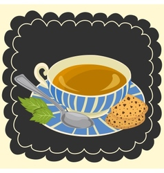 Cup of tea and cookie vector image