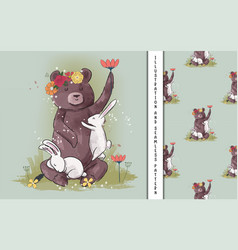 Cute bear and bunny with flowers for kids vector