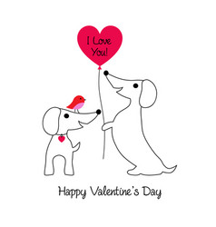 Cute dachshund valentine with bird vector