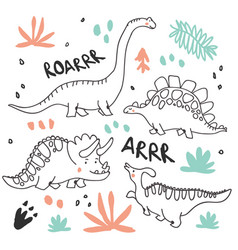 Cute dinosaurs and tropic plants vector