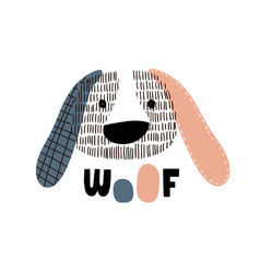 Cute dog face childish print perfect for t-shirt vector