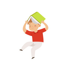 cute little boy jumping with book on his head kid vector image