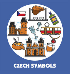 Czech republic travel symbols and landmarks vector