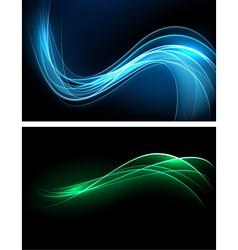 Dark glow banners with color waves vector