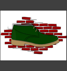 Derby green shoe lace on a red brick wall vector